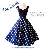 Navy Blue BETTIE Dress, Retro 1950s Style Polkadot Capped Sleeve BRIDESMAID Semi Formal Rockabilly Pin Up Special Occasion Rock n Roll Swing