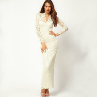 SIMPLE - Lace Sexy Floral Printed Slim Long Sleeve Package Hip V Neck One Piece Dress a10618