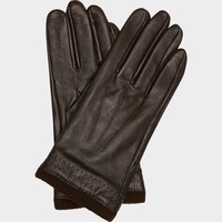 FLEECE-LINED BROWN LEATHER GLOVES