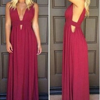 A-Line Prom Dresses,Wine Red Prom Dress,Long Evening Dress