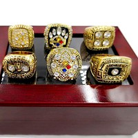 6pcs Zinc Alloy1974/1975/1978/1979/2005/2008 Pittsburgh Steelers Championship Rings For Man With Box size 11