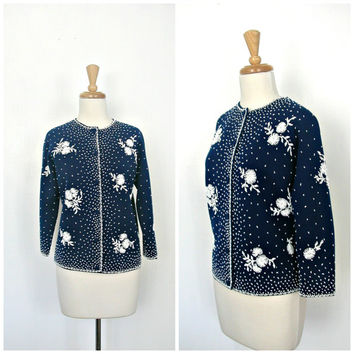 Vintage Beaded Sweater / 60s sweater / beaded cardigan / party sweater / H Liebes / evening jacket / Small Medium