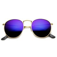 Retro Fashion Metal Frame Flash Mirror Lens Round Sunglasses