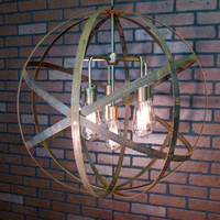 "Rustic Chandelier Wine Barrel Ring Light Orb Ceiling Light 24"" Sphere 6 Light Antique Gold Modern Contemporary Chandelier"