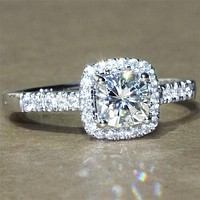 A Perfect 1.9CT Asscher Cut Halo Russian Lab Diamond Ring
