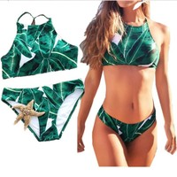 2017 Green Leaf Bikini Brazilian Bikini Set Green Leaf Halter Backless Beach Wear Bathing Suits Swim