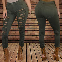 Olive Green Ripped Skinny Jeans