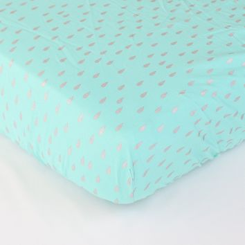 Fitted Crib Sheets | Aqua and Metallic Silver Drops
