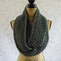 Ready To Ship Infinity Scarf Crochet Knit Charcoal Gray Grey Women's Accessories Eternity Fall Winter