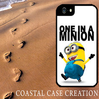 One In A Minion Despicable Me Minion Quote Apple iPhone 4 4G 4S 5G Hard Plastic Cell Phone Case Cover Original Trendy Stylish Design