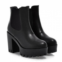 Grunge Chunky Heel Vegan Leather Boots