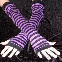 Purple And Black striped cotton arm warmers stripes stripe goth gothic alternative punk lolita industrial steampunk yoga jogging steampunk