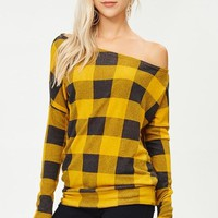 Buffalo Plaid Sweater - Mustard