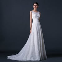 A-Line Scoop Straps Court Train TulleLace Appliques Beading Wedding Dress # 6009878