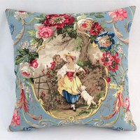 "Fragonard Cameo Toile Pillow, Richloom Cornflower Blue, Lady w/ Dog, 17"" Sq. Royal BlueTicking Stripe, Discontinued French Country Fabric"