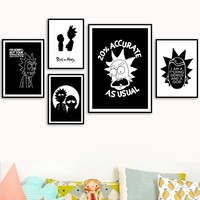 Rick And Morty Wall Art Print Black White Cartoon Posters And Prints Canvas Art Paintings Pictures Nordic Style Kids Decoration
