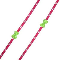 Pink with White Skulls and Green Felt Bows Sneaker Thin Tie Shoe Laces