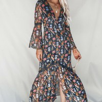 Euphoric Black Floral Chiffon Dress