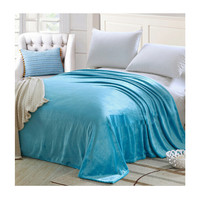 Plush Soft Queen Soild Color Micro fleece Bed Throw Blanket 200cm Blue