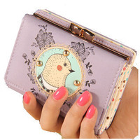 Vintage Bird Cover with Lace Accent and Polka Dot Inside Pattern Three Fold Wallet