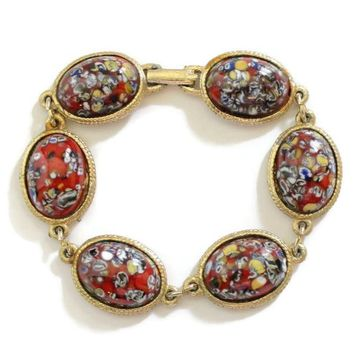 Red Oval Art Glass Link Bracelet, With Multi Color Speckles, Set In Gold Tone
