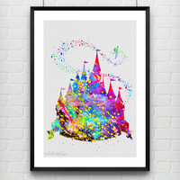 Disney Princess Castle Watercolor Print, Baby Girl Princess Room Art, Minimalist Art Print, Home Decor, Not Framed, Buy 2 Get 1 Free! No. 2