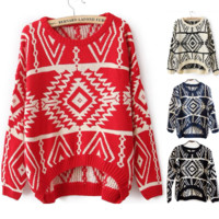 VINTAGE GEOMETRIC PATTERN KNITTED SWEATER -red