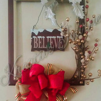 Christmas picture frame wreath-christmas wall hanging-upcycled decor