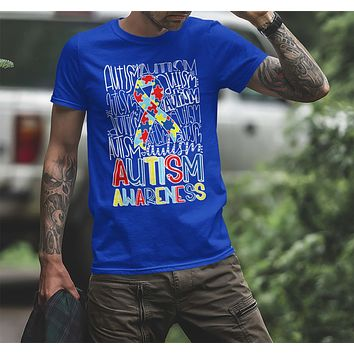 Men's Autism T Shirt Autism Typography Shirt Puzzle Ribbon Shirts Autism Support Tee Cute Autism Shirt