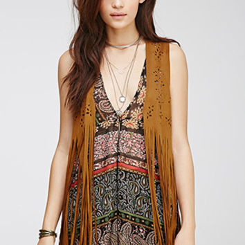 Perforated Faux Suede Fringed Vest