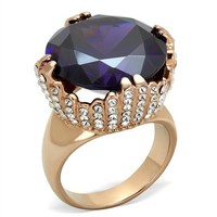 Amethyst and Clear CZ Rose Gold Stainless Steel Ring