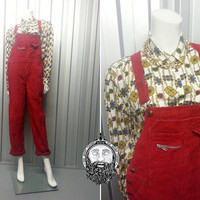 Vintage Unisex 90s Grunge Red Cord Long Dungarees Mens Dungarees Womens Overalls Corduroy Fabric Crop Pants Jumpsuit Romper Hip Hop Club Kid