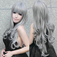 Heat Resistant 80cm Long Wavy Curly Cosplay Wigs Full Wig Fancy Dress New-Gray