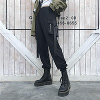 Women Simple Solid Color Webbing Zip Leisure Cargo Pants Trousers