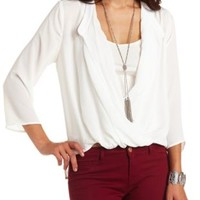 Sheer Chiffon Plunging Surplice Top by Charlotte Russe - Ivory
