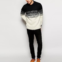 River Island | River Island Color Block Cable Sweater at ASOS