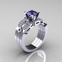 Classic 14K White Gold Alexandrite Diamond Solitaire by artmasters