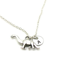 Silver Dinosaur Necklace, Dinosaur Charm Necklace, Personalized Necklace, Custom Gift, Initial Necklace, Dinosaur Jewelry, Customize Jewelry