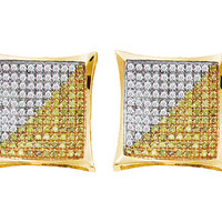 Round Diamond Ladies Micro Pave Fashion Earrings in 10k Gold 0.1 ctw