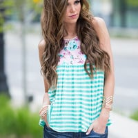 Roll With Me Mint Stripe Floral Tank
