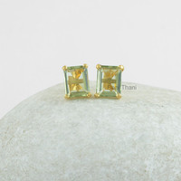 Green Amethyst Quartz Faceted Octagon 8x10mm Micron Gold Plated 925 Sterling Silver Prong Set Stud Earrings Jewelry - #1610
