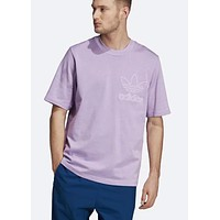 ADIDAS new men's sports and leisure short-sleeved T-shirt Purple