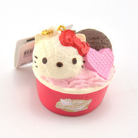 Authorized Hello Kitty Cup Icecream Squishy Soft Sweet Heart Kawaii Cat Bread Cartoon Phone Straps Toy Ballchain with Tag 1PCS