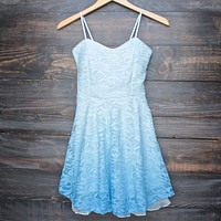 Glits & Glams Lacy Floral Dip Dye Fit and Flare Dress in Powder Blue