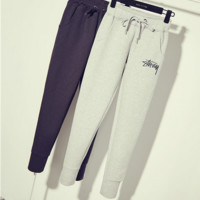 """""""STUSSY"""" Haroun pants embroidery Sweatpants who show thin foot trousers easy leisure trousers"""