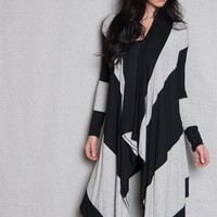 Million Bullpup Light Jersey Drape Color Block Striped Cardigan With Hi-Lo Hem - Gray