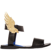The Victory Sandal in Black with Gold Wings