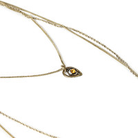 FOREVER 21 Layered Chain Teardrop Necklace Brown/Burn.G. One