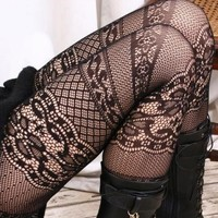 French Italian 6 Multiple Layer Lace Crochet Pantyhose Fashion Runway Hosiery