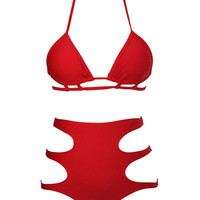 Halter Back Tie Strappy Cutout Two-Piece Wireless Swimsuit